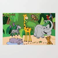 jungle Area & Throw Rugs featuring JUNGLE by Rebecca Bear