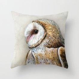 Barn Owl Watercolor, Birds Of Prey Wild Animals Owls Throw Pillow