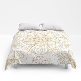 Stylish boho hand drawn golden mandala Comforters
