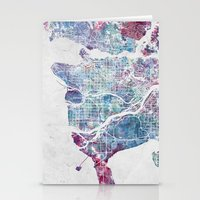 vancouver Stationery Cards featuring Vancouver map by MapMapMaps.Watercolors