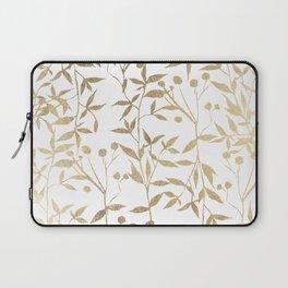 Modern elegant white gold foil foliage berries Laptop Sleeve
