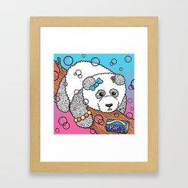 Cute Panda Bubble Pop Doodle pink version Framed Art Print