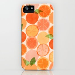 Sunny Oranges / Tropical Fruit Illustration iPhone Case