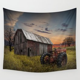 Abandoned Farmall Tractor and Barn Wall Tapestry