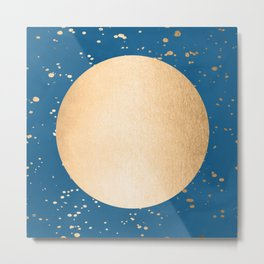 Paint Spatter Sun - Orange Sherbet Shimmer on Saltwater Taffy Teal Metal Print