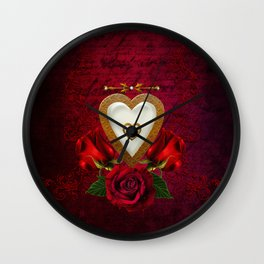 Wonderful hearts with roses Wall Clock