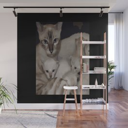 Luna the snow bengal cat and her kittens Wall Mural