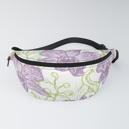 Orchid flowers. Hand drawn on white background olive Green pink purple contour sketch Fanny Pack