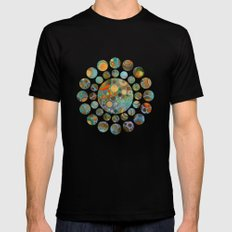 Abstract Circles Pattern MEDIUM Mens Fitted Tee Black