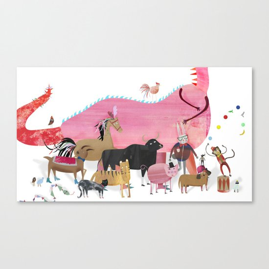 ANIMALS and a dragon Canvas Print