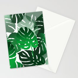Green Big Monstera Leaves - white Stationery Cards