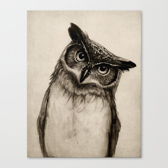 Owl Sketch Canvas Print