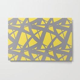 Abstract Mosaic Web Pattern 3 Pantone 2021 Color Of The Year Illuminating and Ultimate Gray Metal Print