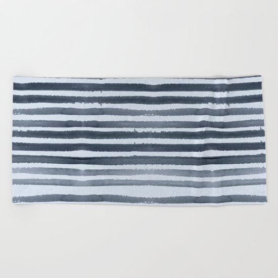 Simply Shibori Stripes Indigo Blue on Sky Blue Beach Towel