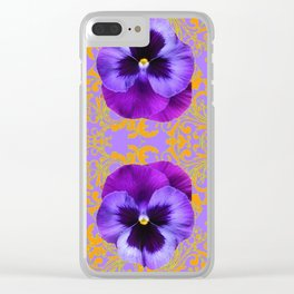 FOUR  PURPLE PANSIES ON LILAC  BROCADE GARDEN Clear iPhone Case