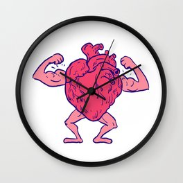 Healthy Heart Flexing Muscle Drawing Wall Clock