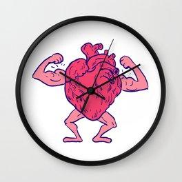 Healthy Heart Flexing Muscle Drawing Wall Clock