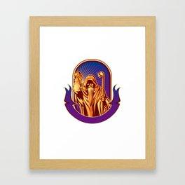 Hermit holding lamp Framed Art Print