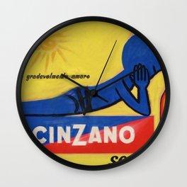 Vintage Cinzano Aperitif Amare Advertising Poster Wall Clock