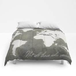 Not All Who Wander - World Map Comforters