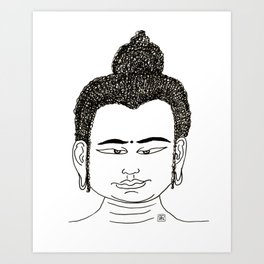 Buddha head with the look Art Print