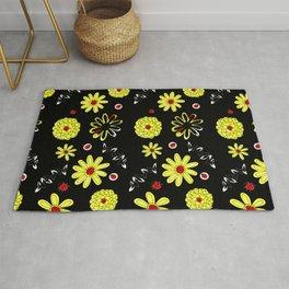 Ladybugs and Yellow Daisies Rug