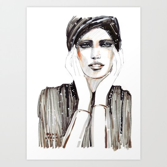 Fashion sketch in markers and pencil Art Print