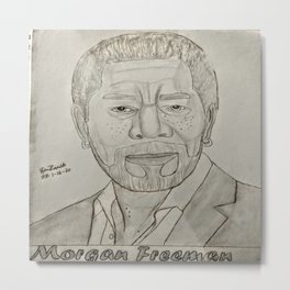 Morgan Freeman by Ryan Reynolds Metal Print