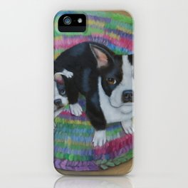 Boston Terrier and Puppies iPhone Case