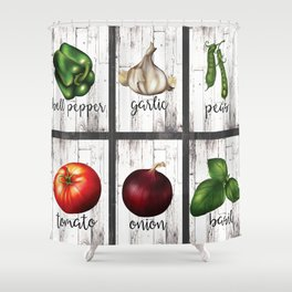 Rustic White Wood Herbs & Garden Vegetables Shower Curtain