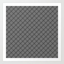 Tombstone Grey and Black Halloween Tartan Check Plaid Art Print