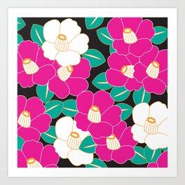 Shades of Tsubaki - Pink & Black Art Print