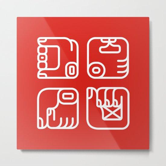 Mayan Glyphs ~ Hands Metal Print