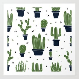 Cactus Plants Pattern- Green Art Print