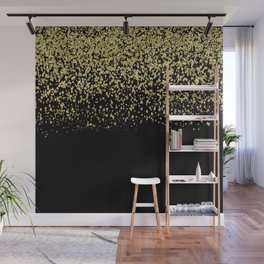 Sparkling gold glitter confetti on black background- Luxury pattern Wall Mural