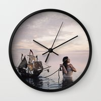 neverland Wall Clocks featuring Finding Neverland by Mila Photographie