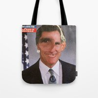 american psycho Tote Bags featuring American Psycho - 5 by Marko Köppe