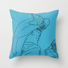 Everything I know I learned from my cat (blue) Throw Pillow