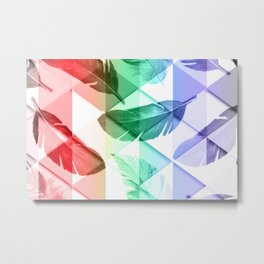 Triangles Feathers Metal Print