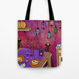 Autumn Table in Candlelight Tote Bag