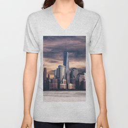 Dramatic City Skyline - NYC Unisex V-Neck