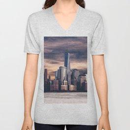 Dramatic City Skyline - NYC Unisex V-Neck