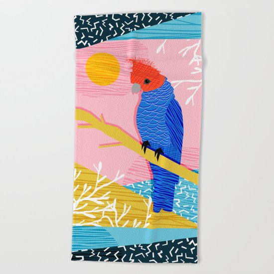 Blazin - memphis throwback tropical bird art parrot cockatoo nature neon 1980s 80s style retro cool Beach Towel