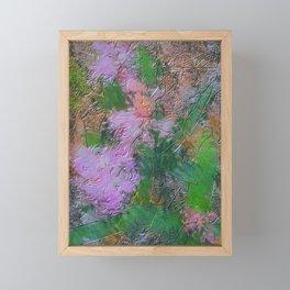 Embossed Impressionist pink flowers Framed Mini Art Print