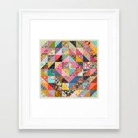 quilt Framed Art Prints featuring Grandma's Quilt by Rachel Caldwell