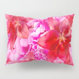 Peony And Lily Flower Bouquet In Vibrant Pink And Red Colors #decor #society6 #homedecor Pillow Sham