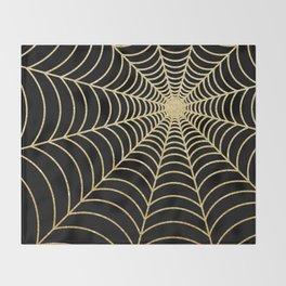 Spiderweb | Gold Glitter Throw Blanket