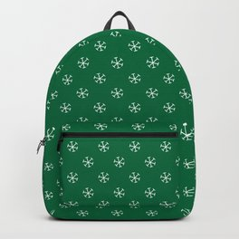 White on Cadmium Green Snowflakes Backpack