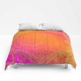 Fuchsia Pink Orange & Gold Indian Mandala Glam Comforters