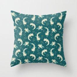 Relaxolotl - Teal Throw Pillow